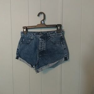 Forever 21 polkadot denim shorts